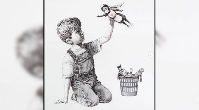 Banksy'den İngiltere'de bir Hastaneye Resim Hediyesi